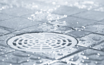 Floor drain, running water in shower, tinted black and white image